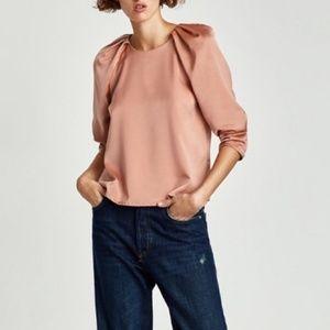 Zara Peach Satin Blouse